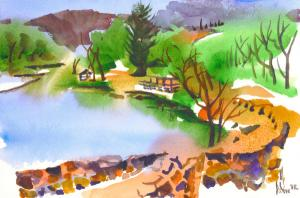 Lake Killarney in Watercolor